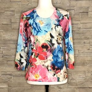Talbots multicolour floral knit top